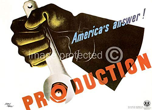 - Production Americas Answer Vintage World War II Two WW2 WWII USA Military Propaganda Poster - 24x36