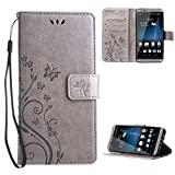 "ZTE Axon 7 Case , Leathlux [Stand Function ] Fashion Retro PU Leather Wallet Case Flip Protective Cover with Card Slots & Wrist Strap for ZTE Axon 7 5.5"" Gray"