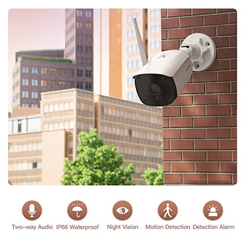 CACAGOO Outdoor Security Camera, 1080P WiFi Wireless Outdoor Camera Surveillance Cameras Home Security Camera, Two-Way Audio, Work with Alexa, Motion Detection for iOS Android