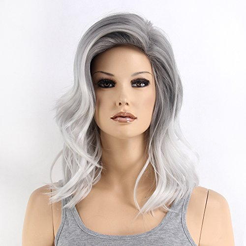 Stfantasy Wigs for Women Grey Ombre Long Curly Wavy Synthetic Fluffy Peluca 19 Inch 180g w/ free Wig Cap and Clips, Silver Grey