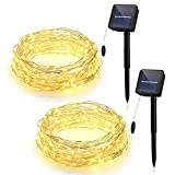 (2 Packs) 100 LED Solar Powered Outdoor String Light, Habor 33ft Copper Wire Light with 8 Modes, IP64 Waterproof Starry Lights, Ambiance Lighting for Gardens, Homes, Parties, Patio