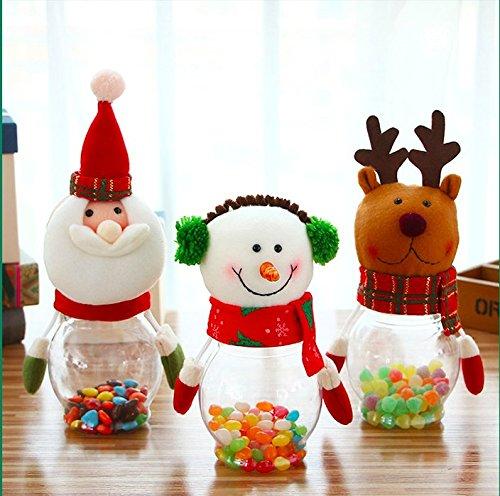 Miss.AJ set of 3 Christmas Candy Jar Plush & Plastic Santa Claus Snowman Elk Bear Cute Sugar Box Piggy Bank Coin Container Decorative Sugar Jars for ()
