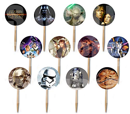 Star Wars Classic Cupcake Picks Double-sided Images Cake Topper -12, Princess Leia, Hans Solo, Yoda, Luke Skywalker A New Hope Empire Strikes Back Return of the Jedi -