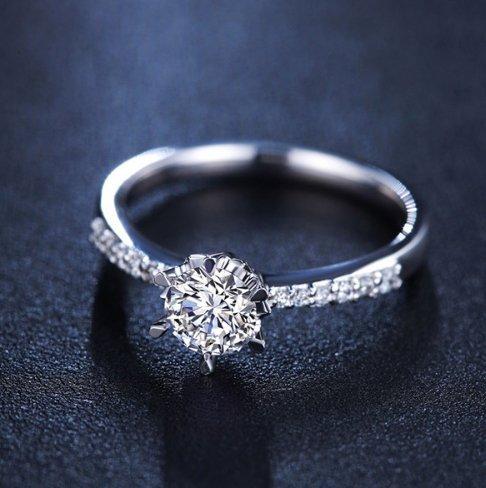 Gowe Marque Bijoux en or blanc 18K Pure Charles Femme Bagues de mariage Certifié Vvs 0,30CT/H Cadeau d'anniversaire