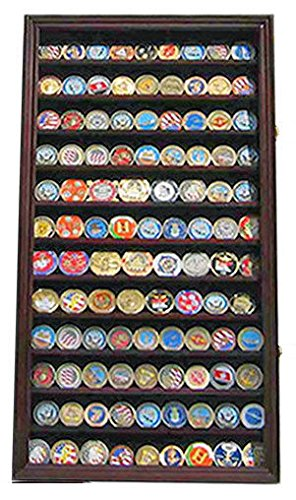 (Military Challenge Coin Casino Poker Chip Display Case/Holder Cabinet)