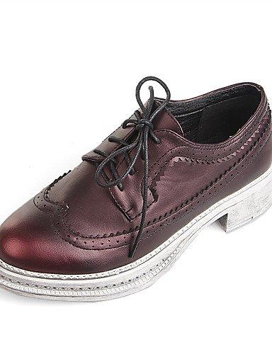 ZQ hug Zapatos de mujer-Plataforma-Creepers / Punta Redonda / Punta Cerrada-Mocasines-Vestido / Casual-Semicuero-Negro / Bermellón , black-us8 / eu39 / uk6 / cn39 , black-us8 / eu39 / uk6 / cn39 black-us5.5 / eu36 / uk3.5 / cn35
