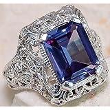 925 Silver White Topaz Aquamarine Gemstone Ring Wedding Engagement Size 6-10 (7)