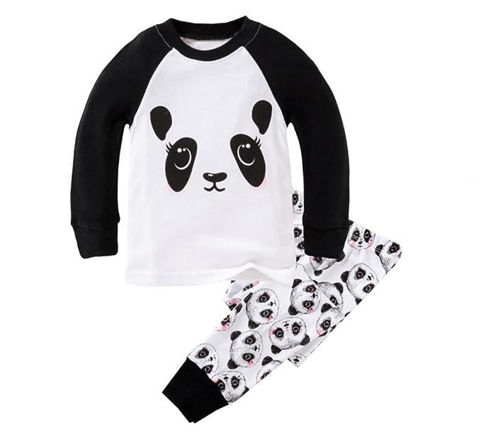 Amazon Com Mammybaby Little Girls Panda Long Sleeved Pajamas Set