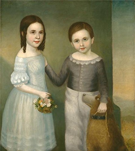 The High Quality Polyster Canvas Of Oil Painting 'unknown,Two Children With Dog,ca.1845' ,size: 8x9 Inch / 20x23 Cm ,this High Quality Art Decorative Prints On Canvas Is Fit For Bar Decor And Home Decoration And (Spider Man Noir Costume)
