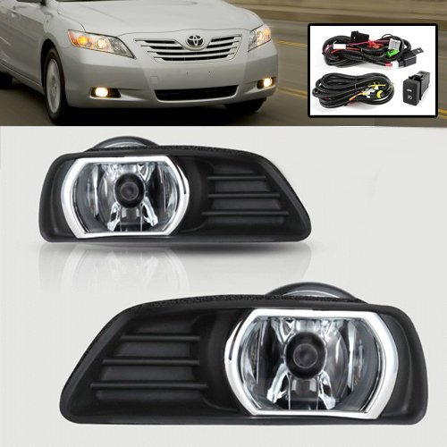 Remarkable Power FL7011 2007 2008 2009 Toyota Camry Clear Fog Lights Bumper Lamps Kit Switch (Clear Bumper Lamp Car)