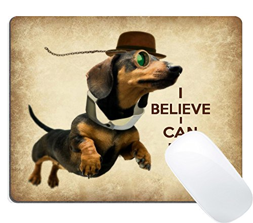 Wknoon Custom Mouse Pad Funny Sausage Dog Cute Flying Dachshund with Glasses Design Art, Joking Quotes and Sayings I Believe I Can Fly Mousepad ()
