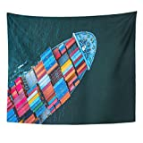 Breezat Tapestry Technology Aerial View From Drone Container Ship in Import Export and Logistic Asia Home Decor Wall Hanging for Living Room Bedroom Dorm 50x60 Inches