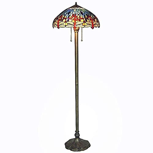 Serena D-italia 60 in. Tiffany Blue Dragonfly Bronze Floor Lamp