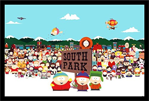 buyartforless IF GP FLM00315 36x24 1.25 Black Framed South Park Cast 36X24 Tv Art Print Poster Animation Characters Comedy - Sharon South Park