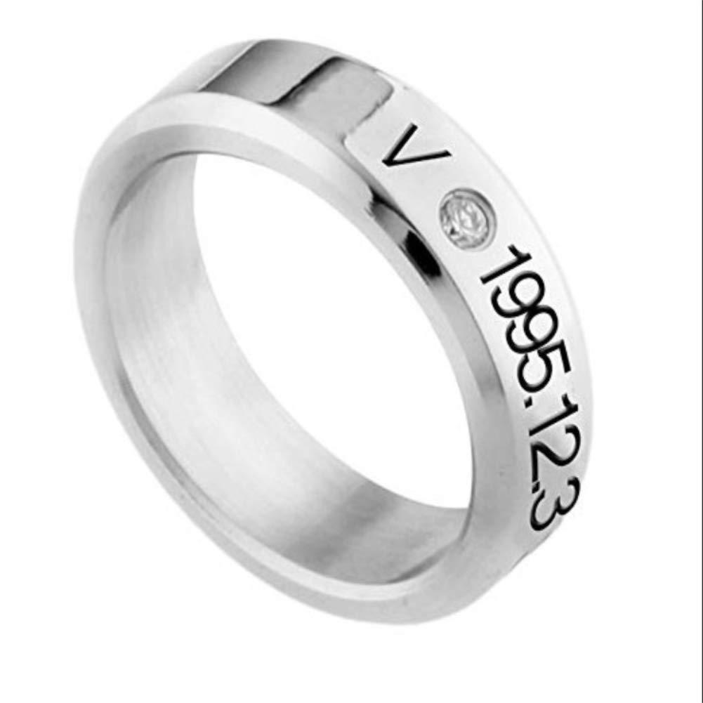 Miig-du La nuova moda selvaggia BTS membro giovanile antiproiettile'V' che circonda l'anello in acciaio al titanio