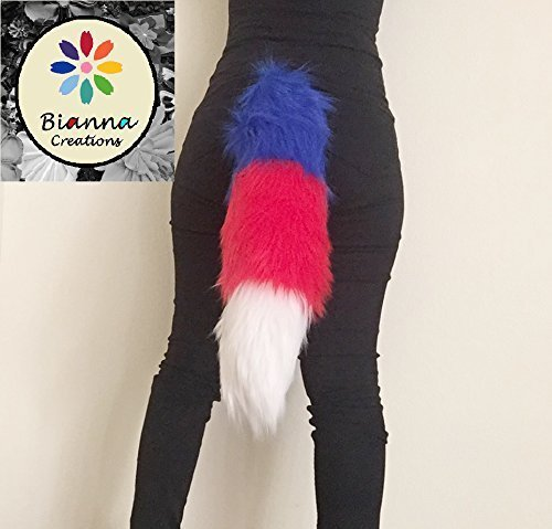 Bianna Patriotic Tricolor Faux Fur Tail, Handmade 20