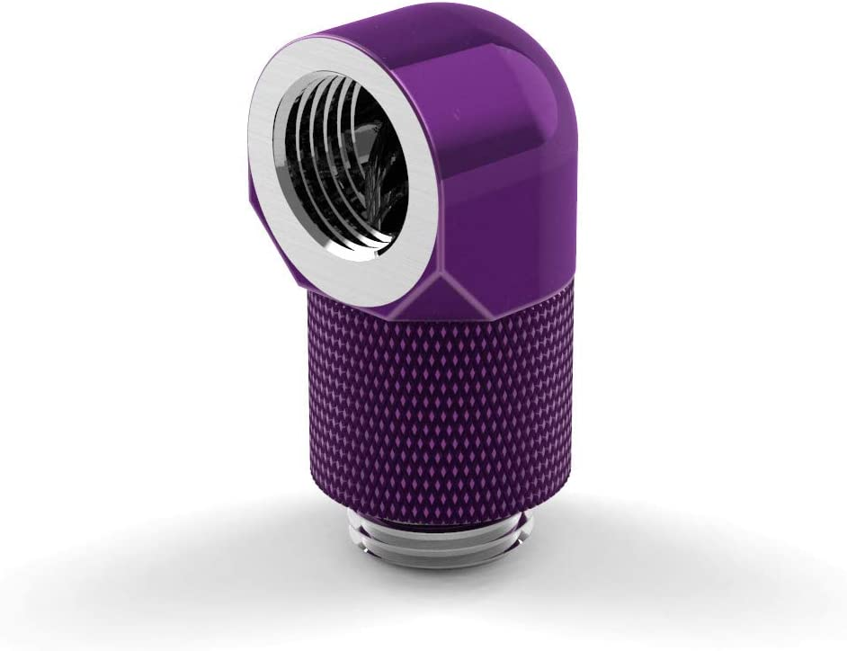 PrimoChill Male to Female G1//4 90 Degree Rotary 15mm Extension Elbow Fitting Candy Purple