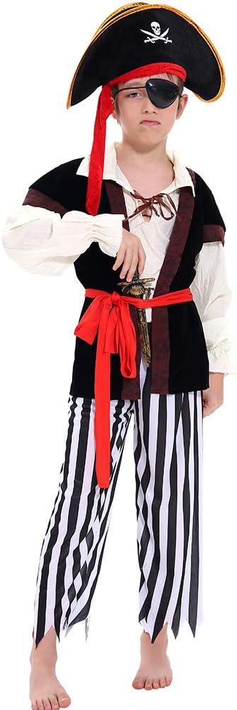 Tacobear Costume Pirata Bambino con Accessori Pirata Eyepatch pugnale Bussola Borsa orecchino Medaglione doro Costume di Halloween per Bambini Pirata Fancy Dress Ragazzo M 6-8 Anni