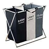 135L Laundry Cloth Hamper Sorter Basket Foldable 3 Sections with Aluminum Frame 26''×24''H Washing Storage Dirty Clothes Bag for Bathroom Bedroom Home (3 Liner)