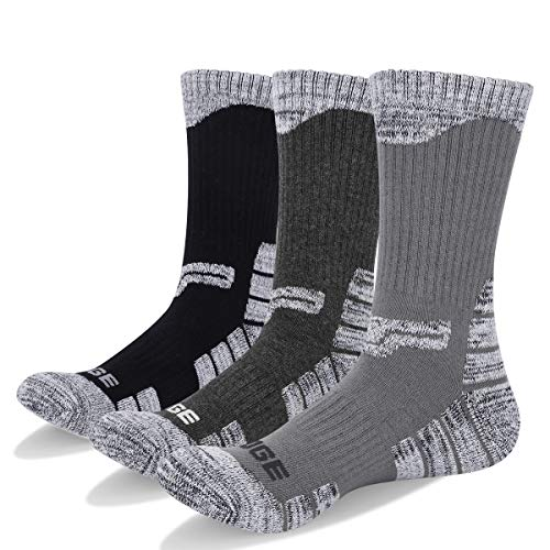(YUEDGE Men's 3 Pairs Wicking Outdoor Multi Performance Hiking Cushion Crew Socks (XL) )
