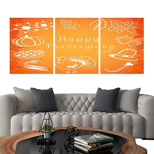 Pictures Paintings on Canvas WallVector and illustration thanksgiving ideas elements pumpkin sun flower pumpkin pie cake turkey drumstick acorn hat and maple in white color with maple pattern orange