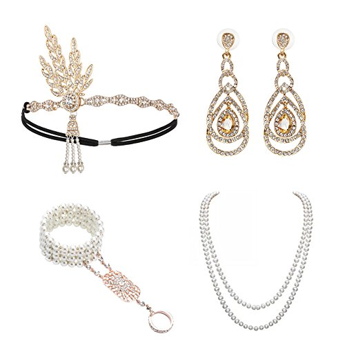 1920s Accessories Set Great Gatsby - For Women Headband Bracelet Pearl Necklace Earring For - Gatsby Gold