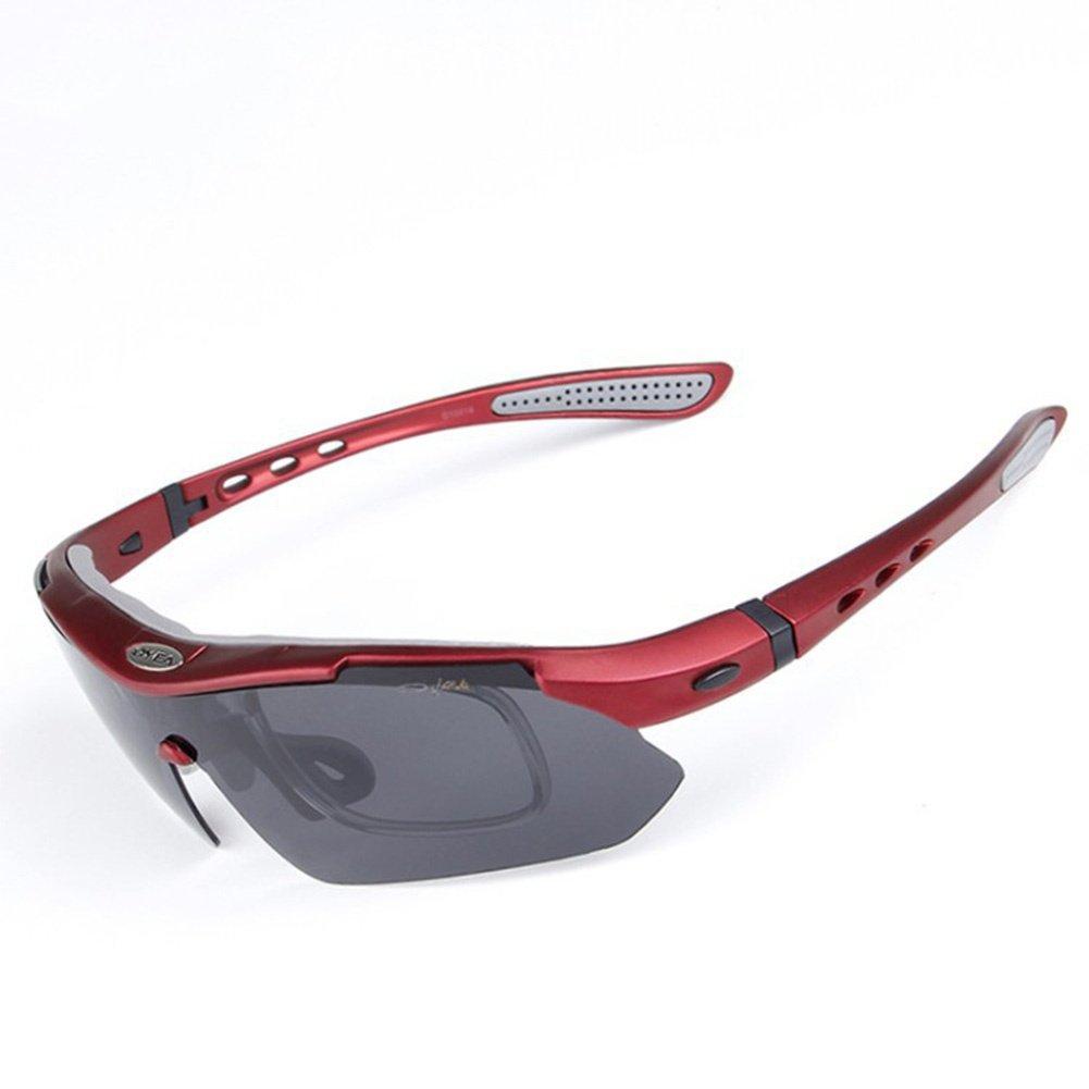 QXHMYJ risiertes Licht Fahrrad UV-Schutz 400 Anti-Beschlag Laufen Gläser 5 Wechselobjektive Anpassung und Radfahren MTB Mountainbike Skifahren Angeln Fahren Augenschutz Gläser