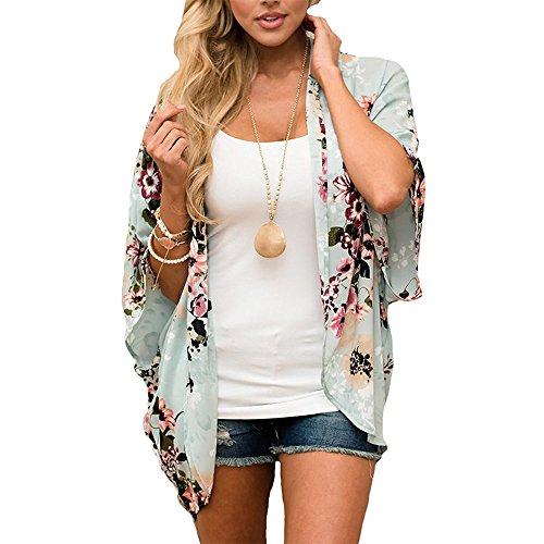 BBampKK Womens Floral Print Sheer Chiffon Kimono Cardigan Blouse Loose Beach Cover up M