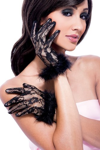 Plus Size Black Gloves (Paper Magic Women's French Kiss Short Lace And Marabou Gloves, Black, One Size)
