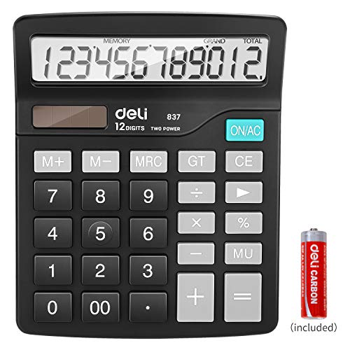 Calculator, Deli Standard Function Desktop Basic Calculators with 12 Digit Large LCD Display, Solar Battery Dual Power Office Calculator, Black