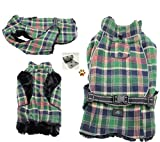 Alpine Cold Weather Flannel Plaid Fur Lined Pinned Dog Coat with Bags Set - (5XL - Chest 37-40'', Neck 30-32'', Back 30'', Green/Blue)