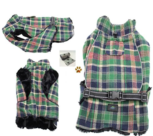 Alpine Cold Weather Flannel Plaid Fur Lined Pinned Dog Coat with Bags Set - (5XL - Chest 37-40'', Neck 30-32'', Back 30'', Green/Blue) by DOGGIE DESIGN (Image #6)