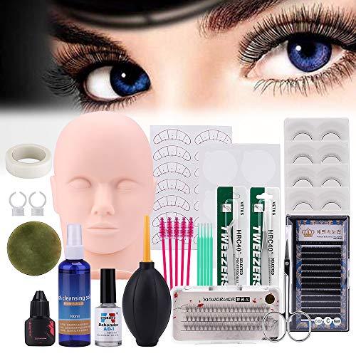 Pro 19pcs False Eyelashes Extension Practice Exercise Set, Professional Head Model Lip Makeup Eyelash Grafting Training Tool Kit for Makeup Practice Eye Lashes Graft