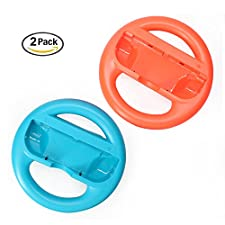Steering Wheel for Nintendo Switch Joy-Con, Wheel Grip Controller Grips for Nintendo Switch,(2 Pack), Blue and Red