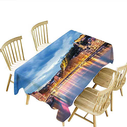 selisi European Wrinkle Tablecloth View of Saone River in Lyon City at Evening France Blue Hour Historic Buildings Rectangle Tablecloth Multicolor W55 x L71 -
