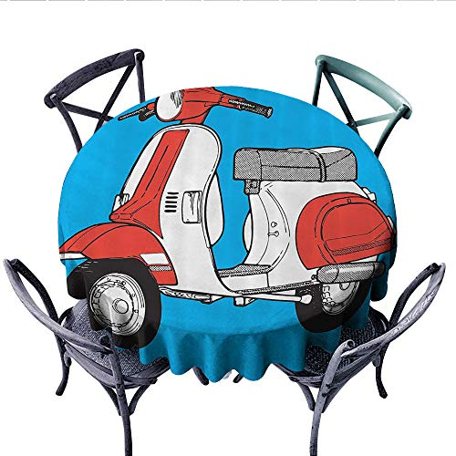 Funky Decor Circle Tablecloth Cute Scooter Motorcycle Retro Vintage Vespa Soho Wheels Rome Graphic Print Flannel Tablecloth (Round, 70 Inch, Blue Red White)