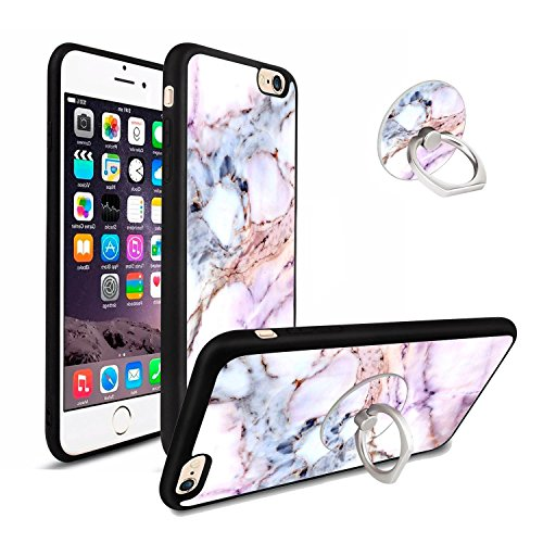 Marble Case with 360 Degree Ring Holder for iPhone 6/6s Plus, Shock-Absorption TPU Bumper Soft-Touch Thin & Flexible Customized Phone Case for iPhone 6/6s Plus (5.5 Inch) - Marble