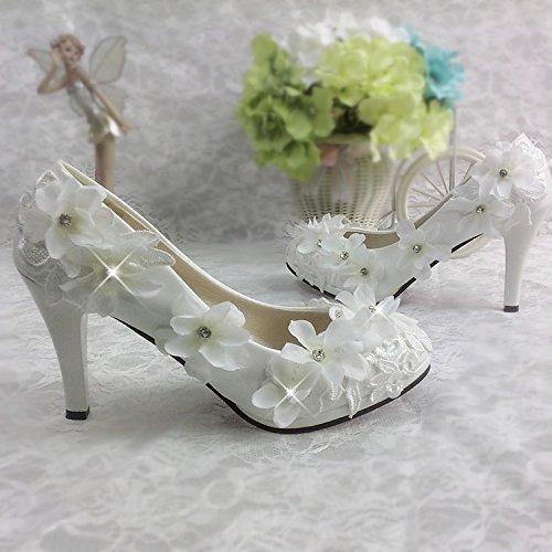 Blanc JINGXINSTORE Fleur dentelle chaussures de mariage en cristal blanc diahommet suite nuptiale des célibataires Chaussures UK4.5
