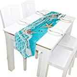 Yochoice Table Runner Home Decor, Stylish Seashells Starfish and Fishing Net on Wooden Desk Table Cloth Runner Coffee Mat for Wedding Party Banquet Decoration 13 x 70 inches