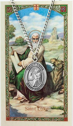 Pewter Saint St Luke Medal with Laminated Holy Card, 1 1/16 Inch ()