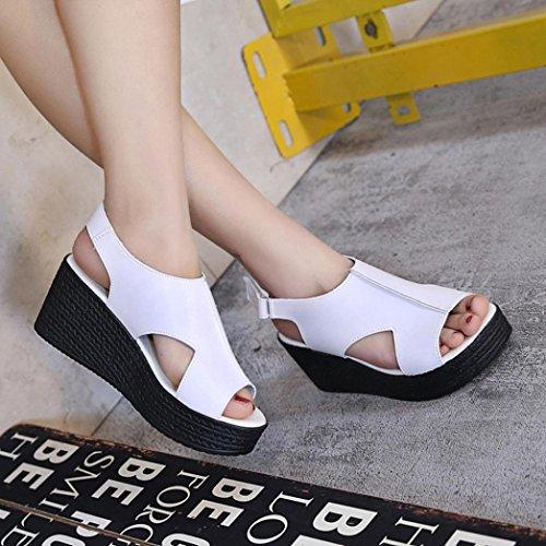 de Zapatos la manera la Blanco Sandalias planas la hebilla las punta Sandalias gruesas de de mujeres RETUROM la la hebilla de correa planas de Mujer abierta de para Sandalias 1Y5qF