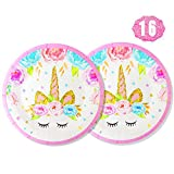 Premium Unicorn Party Plates Set, 16 pcs 7' Disposable Paper Plates for Unicorn Party Favors, Baby Shower, Kids First Birthday