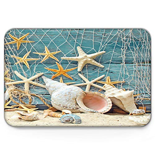 EZON-CH Modern Non Slip Watercolor Sea Beach Bath Mats for Bathroom Bedroom Mat Toilet Floor Door Mat Rug Carpet Pad Doormat,Sea Beach Starfish on Fishing Net,19.7X31.5IN from EZON-CH