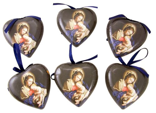Set of 6 Madonna and Child 3-inch Decoupage Christmas Ornament -