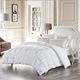 SNOWMAN White Goose Down Comforter King Size 100% Cotton Cover Down Proof Baffle Boxes Construction,Soft and Warm (King)