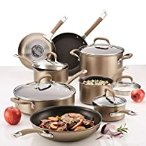 Circulon Premier Professional 13-piece Hard-anodized Cookware Set with Hanging Handle Holes Bronze Exterior Stainless Steel Base