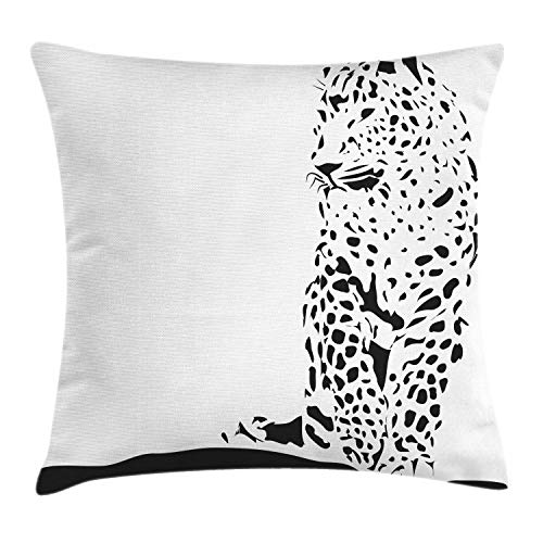 Lunarable Jaguar Throw Pillow Cushion Cover, Black Jaguar Figure in Abstract Style Spotty Animal Skin Savannah Fauna Theme, Decorative Square Accent Pillow Case, 26 X 26 Inches, Black and White