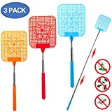 LENKA Fly Swatter Extendable, [Portable to Be Your Travel Partner] Strong Flexible Manual Swat with Durable Telescopic Handle - Colorful Pack of 3