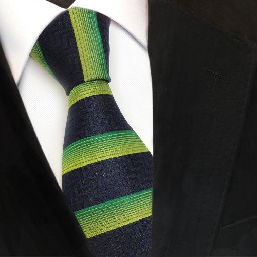 Diseñador corbata de seda - verde royal negro quer rayas: Amazon ...