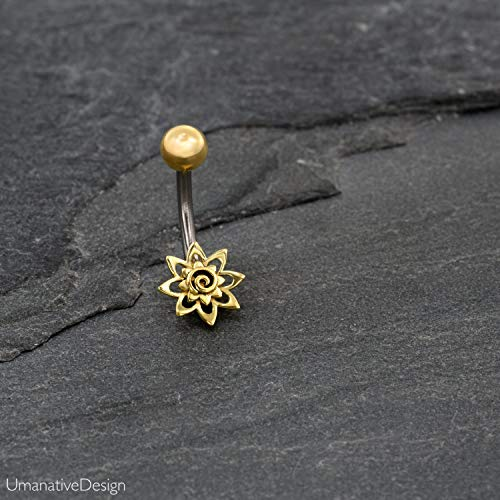 Unique Flower Spiral Button Ring, Gold Brass & Surgical Steel Tribal Geometric Belly Bar, 14g, Handmade Navel Piercing Jewelry